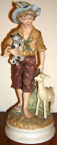 Vintage Andrea By Sadek Figurine Bisque Goat Cat Large