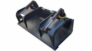 66 Inch Skid Steer Heavy Duty Solid Bottom Grapple Bucket Free Shipping