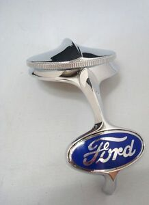 1932 Ford Radiator Grille Shell Chrome Ornament Rad Cap Blue Emblem Kit