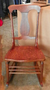 Quartersawn Oak T Back Sewing Rocker Rocking Chair R59