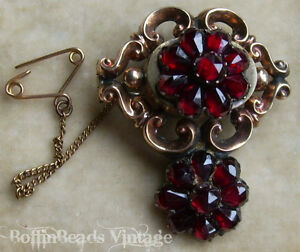 Victorian Garnets Mourning Brooch With Macabre Human Hair Encased Gold Chain
