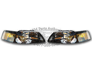 New Oem 2001 2004 Ford Mustang Headlight Pair Black Svt Cobra Gt Terminator