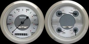 Classic Instruments All American Silver Series Quad Gauge Set 3 3 8 Speedometer