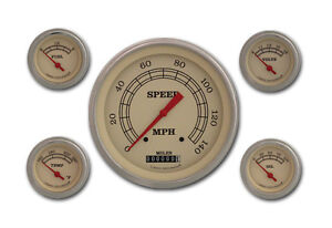 Vintage Series 5 Gauge Set 4 5 8 Speedometer With Curved Lenses 140 Mph Vt54slc