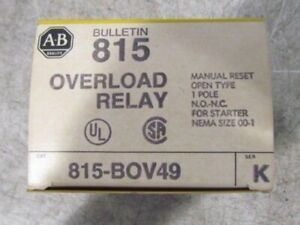 Allen Bradley 815 bov49 B0v49 Overload Relay New In Box