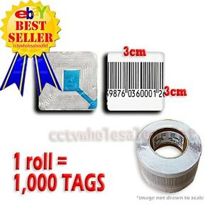 1000 Pcs Checkpoint Barcode Soft Label Tag 8 2 3x3 Cm