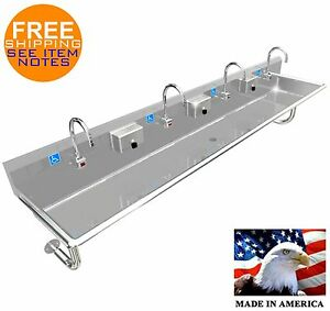 Ada 4 Person 96 Hand Wash Up Sink Electronic Faucet Wall Mount Made In America