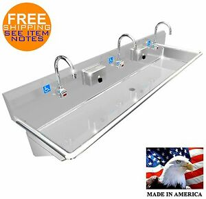 Ada 3 Users 72 Hand Wash Sink lavatory Electr Faucet Hands Free Made In Usa