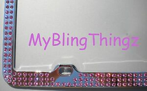 Embedded Pink Crystal Bling Rhinestone License Plate Frame W Swarovski Elements