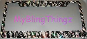 Zebra Crystal Bling Rhinestone License Plate Frame Made With Swarovski Elements