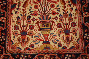 C1930s Antique Finely Detailed Kork Wool Prayer Prsian Saruk Rug 2 2x3 1