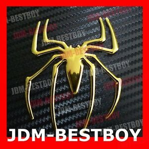 Halloween Spider Chrome Gold Logo Auto Car Decal Emblem Sticker Badge Custome