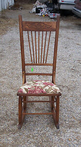 Oak Sewing Rocker Rocking Chair Rose Print R125