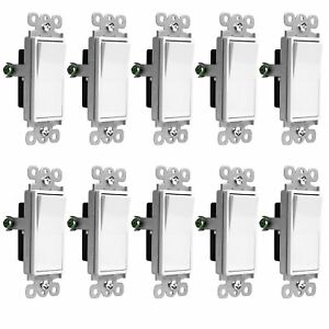 10 Pack Illuminated Rocker Paddle Switch Single Pole 15a Home Decor