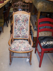Maple Sewing Rocker Rocking Chair Pink Blue Flower Tapestry R11