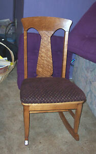 Birdseye Maple Sewing Rocker Rocking Chair Burgundy Diamond Print Seat R98
