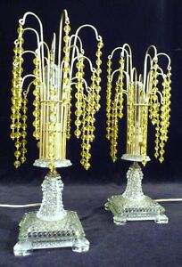 A Pair Art Deco Crystal Waterfall Boudoir Table Lamps Lights 1930s