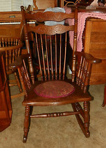 Carved Elm Spindle Rocker Rocking Chair R13