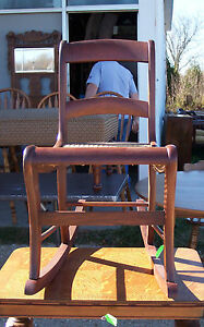 Caned Walnut Sewing Rocker Rocking Chair R121