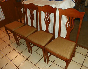 Set Of 4 Solid Quartersawn Oak Dinette Chairs Sidechairs Dc28