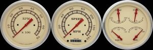 Vintage Series 3 Gauge Set 4 5 8 Speedometer Tach W Gold Bezels