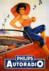 Philips Car Radio Music Lady Dancing Automobile Vintage Poster Repro Free Sh