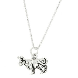 Sterling Silver Livestock Cow Charm With Box Chain Necklace