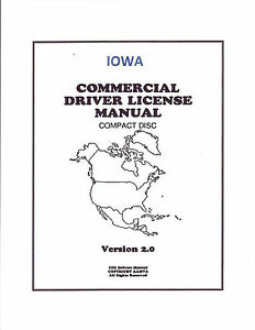 COMMERCIAL DRIVER MANUAL FOR CDL TRAINING (IOWA) ON CD IN PDF PROGRAM. $12.95