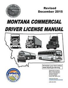 COMMERCIAL DRIVER MANUAL FOR CDL TRAINING (MONTANA) ON CD IN PDF PROGRAM. $12.95