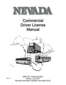 COMMERCIAL DRIVER MANUAL FOR CDL TRAINING (NEVADA) ON CD IN PDF PROGRAM. $12.95