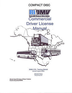 COMMERCIAL DRIVER'S MANUAL FOR CDL TRAINING (RHODE ISLAND) ON CD IN PDF PROGRAM. $12.95