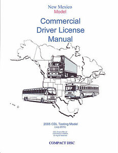 COMMERCIAL DRIVER'S MANUAL FOR CDL TRAINING (NEW MEXICO) ON CD IN PDF PROGRAM. $12.95