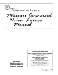COMMERCIAL DRIVER'S MANUAL FOR CDL TRAINING (MISSOURI) ON CD IN PDF PROGRAM. $12.95
