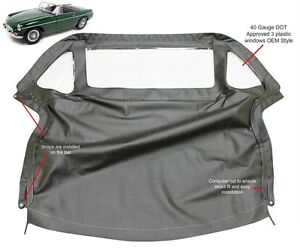Mgb Convertible Top With Zipper 3 Plastic Windows 1971 1980 Black Crush Grain
