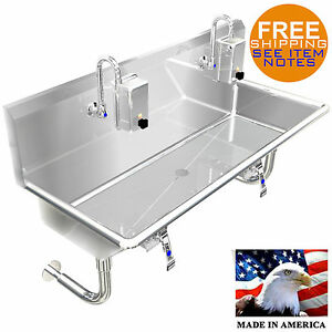 Hand Sink Industrial 2 Person Wash Up Sink 40 Hands Free Lavatory Made In Usa