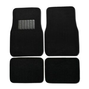 New 4pc Set Plush Deluxe Front And Rear Car Truck Black Carpet Floor Mats