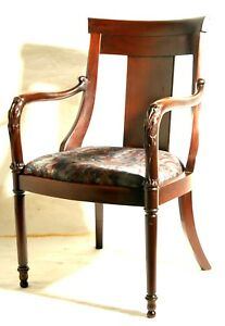 Arm Chair Classical Revival Empire Carved Arm Mahogany 38 T 19th Century