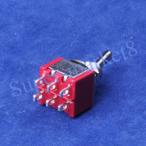 50pcs Red Mini Toggle Switch Dpdt On on Guitar Amp 6pin