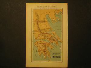 Map Ancient Greece Color Lith 1870