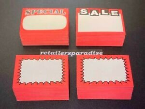 Assortment Of 200 Popular prime Quality Retail Store Sale Price Tags Signs