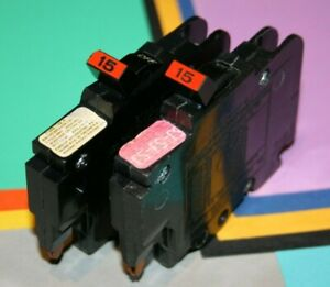 2 Federal Pacific 15 Amp 1 pole Breakers Thin Nc 120 Volt Single Pole