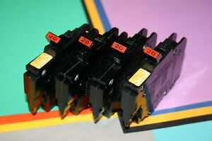 4 Federal Pacific 20 Amp 1 pole Type Nc Breakers Thin 120 Volt