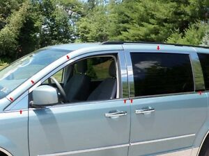 2008 2012 Dodge Grand Caravan 16pc Stainless Steel Window Trim Kit