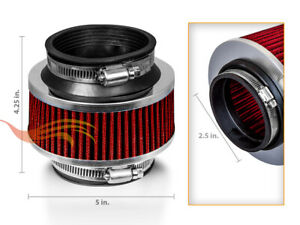 2 5 63mm Red Bypass Valve Dry Filter For Cold Air Induction Intake System