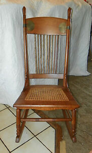 Quartersawn Oak Caned Sewing Rocker Rocking Chair R66