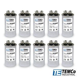 Temco 15 Mfd Uf Run Capacitor 370 Vac Volts 10 Lot Ac Motor Hvac 15 Uf