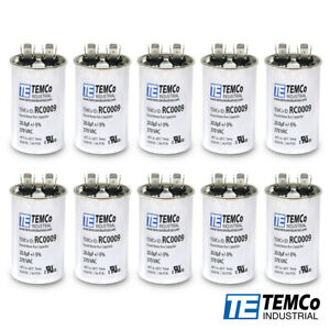 Temco 20 Mfd Uf Run Capacitor 370 Vac Volts 10 Lot Ac Motor Hvac 20 Uf