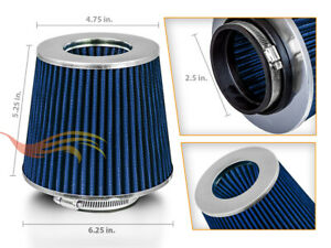 Blue 2 5 Inches 2 5 63mm Inlet Cold Air Intake Cone Dry Filter For Buick