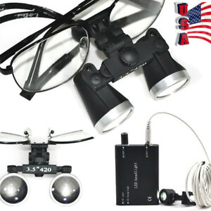 Black Metal Frame Dental Surgical Loupes 3 5x 420 Optical Glass led Head Light
