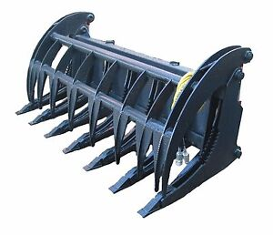 New 74 Heavy Duty Root Rake Grapple Skidsteer Attachment W teeth Free Shipping